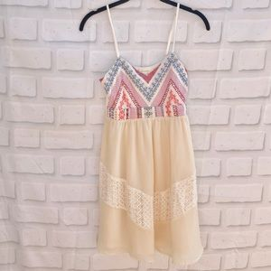 Anthropologie V-Neck Aztec Cream Dress